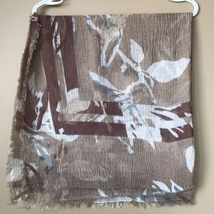 Accessories - Floral Brown Scarf